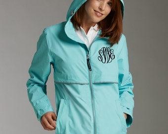 Monogrammed rain jacket, Charles River Rain Jacket, Monogrammed Rain Coat, Womens Rain Jacket, Corporate Jackets