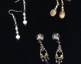Earring assortment - Pearl earrings, Crystal chandeliers, and Quartz earrings