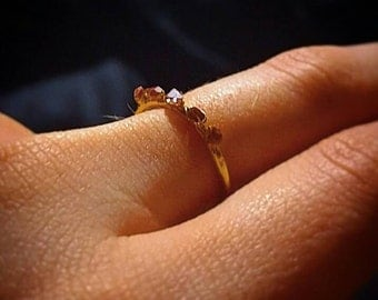 Herkimer Diamond Multi-stone Stacking Ring 18k Gold
