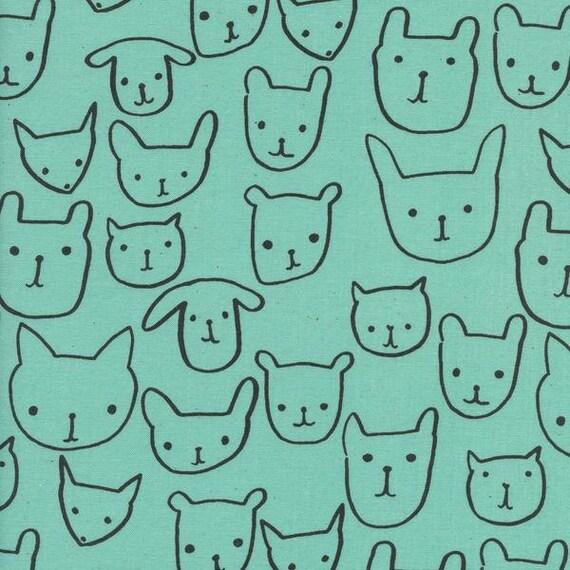 Crib Sheet >> Print Shop Hello in Seaglass >> MADE-to-ORDER cat dog toddler sheet set, aqua mini crib, animal bassinet, aqua gender neutral