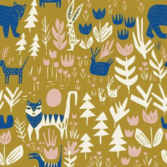 Organic Changing Pad Cover - 'Lore' Lions Tigers and Bears in Gold - MADE-to-ORDER