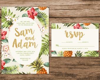Tropical Wedding Invitation, Destination Wedding Invitation, Hawaiian Wedding Invite