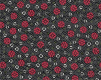 Red Circle Flowers- Victory Collection by Red Rooster Fabrics - 100% Cotton Fabric