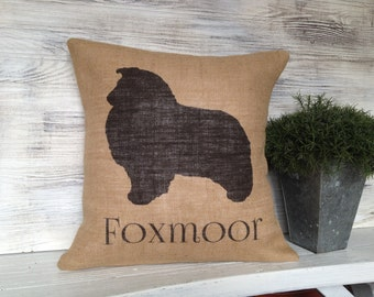 NOVELTY SHELTIE SILHOUETTE,Natural Burlap,Personalized,Pillow insert included