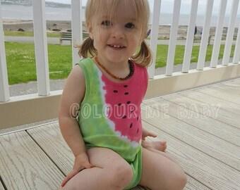 Sleeveless tie dye watermelon baby vest bodysuit