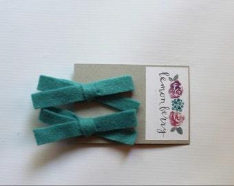 Jade Wool Felt Piggy Tail Bow Clip Set