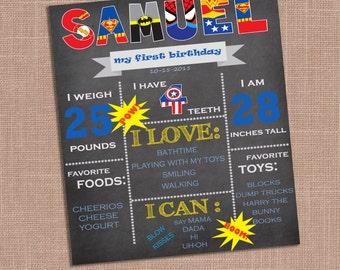 Superhero Birthday Stat Poster, First Birthday Poster, Boy First Birthday, First Birthday Milestone, Superman, Batman, Spiderman
