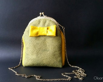 Evening bag from wool with clasp,metal clasp,frame,wedding bag,small bag,handbag, purce,bride, bridal,  small,clutch,clasp bag,iPhone pouch