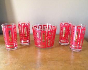 Vintage Mid Century Modern Red Starburst Drink Set with Ice bucket