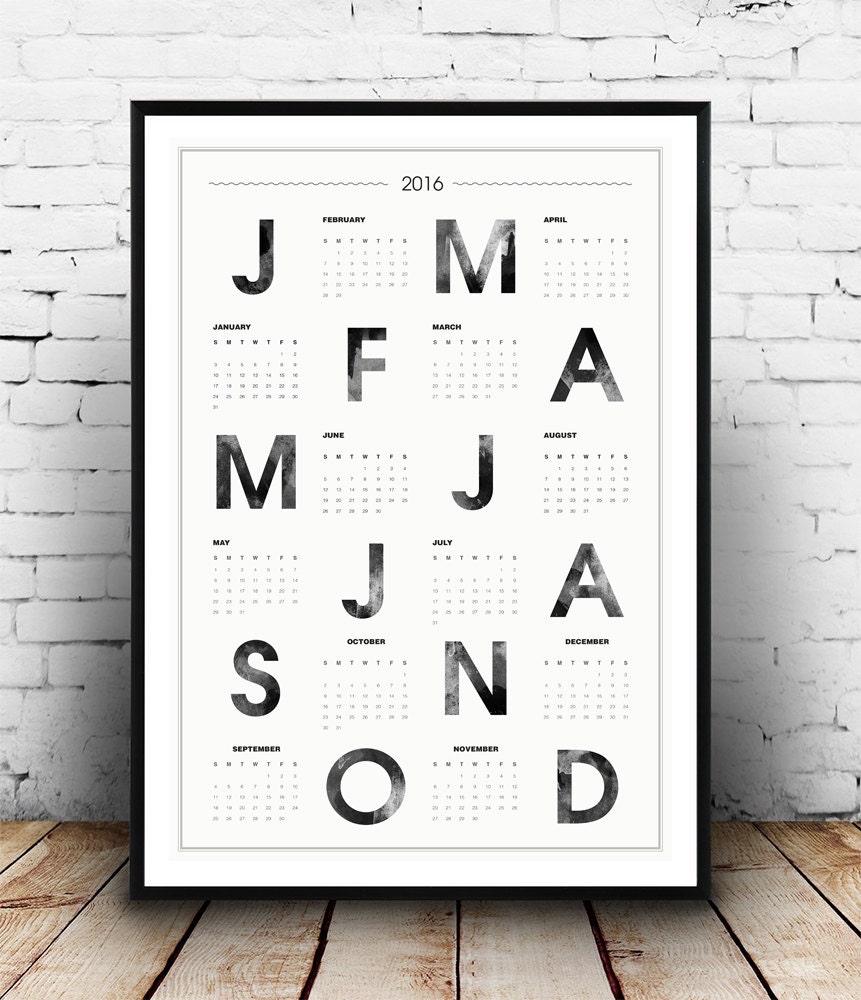 Typography Printable Calendar : Calendar typography poster scandinavian print by