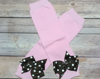 Pastel Pink Leg Warmers with Bows | Baby Girl Leg Warmers | Newborn Take Home Outfit | First Birthday Outfit | Krafts by Kuties