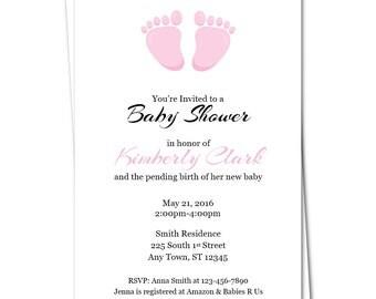 Baby Feet Baby Shower Invitation, Pink Baby Shower Invitation, Girl Baby Shower Invitation, Its a Girl, Invitations for Girls, Baby Girl