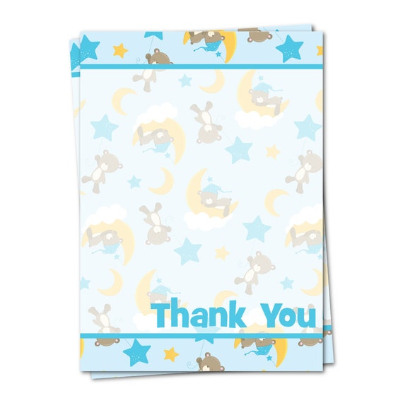 Baby Boy Gift Thank You Cards : Boys baby shower thank you cards by peachtreestationery