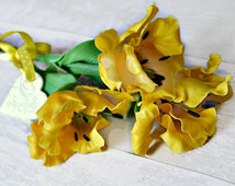 Artificial tulips, Bunch of 3 cold porcelain flowers, Easter decoration, Polymer clay flowers, Gift for her, Fake tulips, Floral arrangement