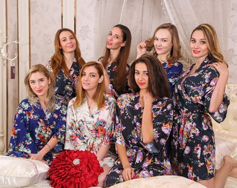 bridal party robes mother of the bride gift will you be my bridesmaid floral robe flower girl robe satin robe monogram robe Not set of 7