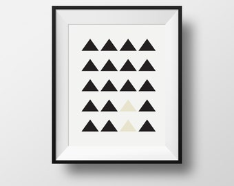 Wall art black and white, black triangle wall print, home wall print, minimalist framed prints