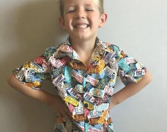 Boys Button up Shirt License Plates Fabric