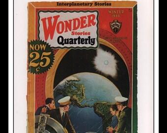 "Vintage Print Ad Sci Fi Cover : Wonder Stories Quarterly Winter 1933 Frank Paul Illustration Wall Art Decor 8.5"" x 11 3/4"""