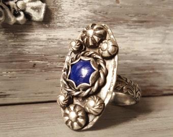 Blue Lapis Ring, Lapis Lazuli Ring, Sterling Lapis Ring- Made to Order