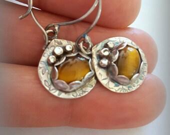 Tiger Eye Earrings, Gemstone Earrings, Sterling Silver Earrings, Drop Earrings