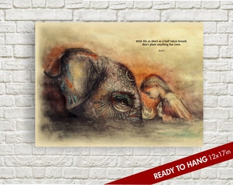 elephant art, Rumi quote, elephant watercolor, elephant print, Rumi Quote, love gifts, decor, Inspirational Quote, Ready to Hang (12x17in)