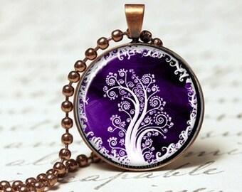 Deep mystical Purple tree of life pendant necklace