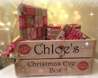 Christmas Eve Box, personalised, Christmas eve crate, Xmas Eve, Christmas Goodie box, hamper