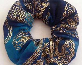 Blue and gold tie dye / paisley boho hair scrunchie