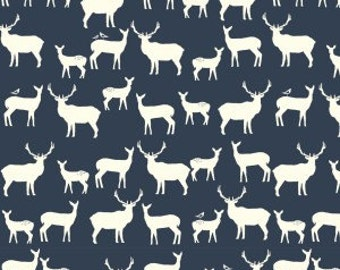 Navy Woodland Deer Fabric, Organic Cotton, Quilting Weight, Birch Fabrics, Elk Family Dusk, Antlers, Stags