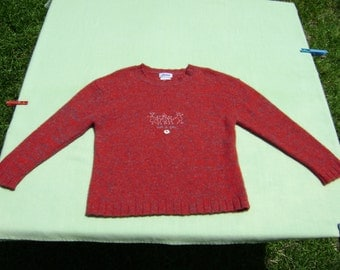 vintage jacadi girls lambswool blend sweater size 10a / 140 cm 10 years see measurements red with multicolor design