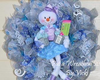Winter Wonderland Snow Girl  Wreath - Winter wreath SALE WAS 99.00 NOW 89.00