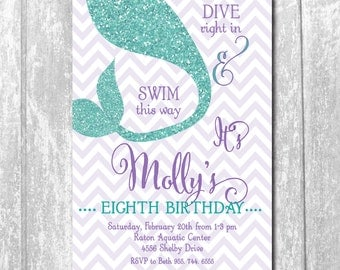 Adorable Mermaid Bday Invitation with Aqua Glitter Detail/DIGITAL FILE/colors and wording can be changed