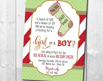 Holiday Gender Reveal Party Invitation / DIGITAL FILE / printable / wording can be changed