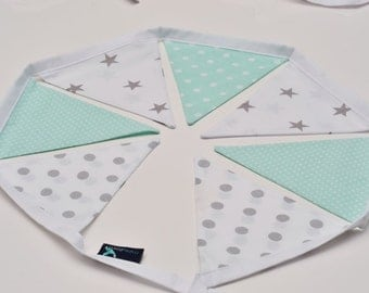 Bunting Garland Fabric Flags Pennants : Mint, Grey, White