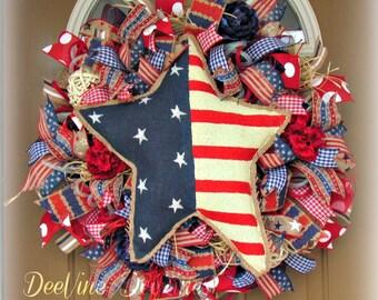 Americana Deco Mesh Wreath, Patriotic Deco Mesh Wreath, 4th of July Mesh Wreath