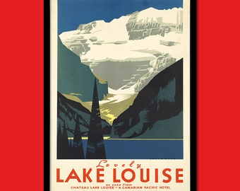 Canada Travel Print - Canadian Travel Poster Lake Louise Canada Poster Travel Canadian Prints Travel Wall Decor   t