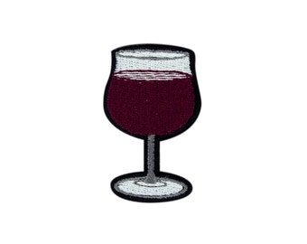 Wine Glass Emoji Embroidered Iron On Patch - FREE SHIPPING