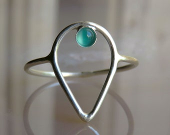 Green Onyx Ring Sterling Silver, Natural Stone Ring, Green Stone Ring, Ring for Women