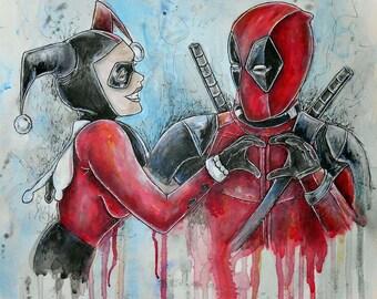 Harley and Deadpool Artwork Print