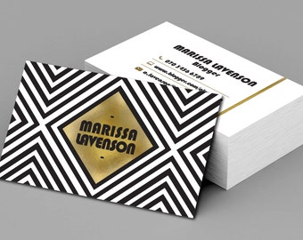 Black_White and Gold Glamour Business Card Template  Business Card Printable  Business Card Retro Pattern Card |PHOTOSHOP FILE|