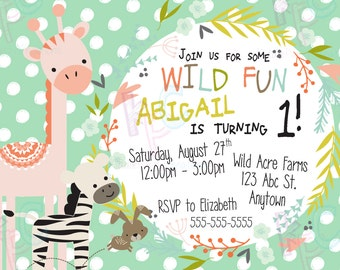 "Wild Themed 1st Birthday 5""x7"" Printable Invitation{Digital File Only}"