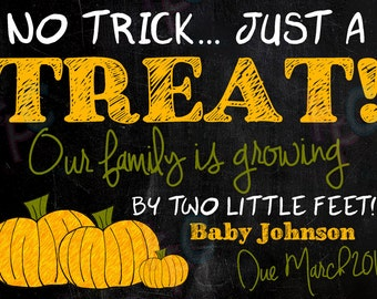 "5""x7"" No Trick Just a Treat Halloween Pumpkin Pregnancy Announcement Card{Digital File Only}"