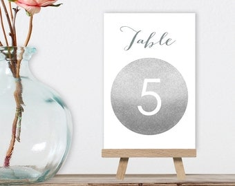 Wedding Table Numbers DIY / Silver Sparkle / Metallic Silver and Gray / Guest Seating / 1 to 40 ▷ Instant Download