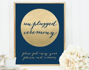 Unplugged Ceremony Sign / Navy and Gold Wedding Sign DIY / Metallic Gold Sparkle Circle / Champagne Gold and Navy ▷ Instant Download JPEG