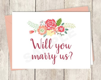 Will You Marry Us Card DIY Printable / Wedding Officiant / Rustic Flower Charm / Bright Pink, Red, Yellow Wildflowers ▷ Instant Download