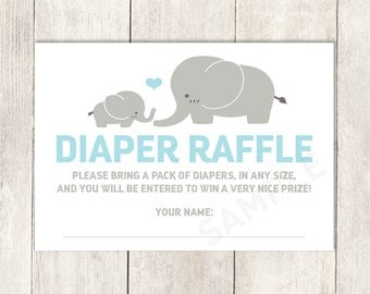 Elephant Diaper Raffle Card DIY / It's a Boy / Gray and Blue Heart / Blue Baby Shower Printable PDF ▷ Instant Download