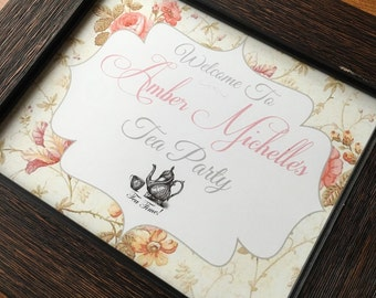 Tea Party Welcome Sign 8x10