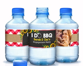 Water Bottle Labels - 30 I Do BBQ - Engagement Party Wedding - Bachelorette - Bridal Shower - Customizable Personalized Labels - I DO BBQ