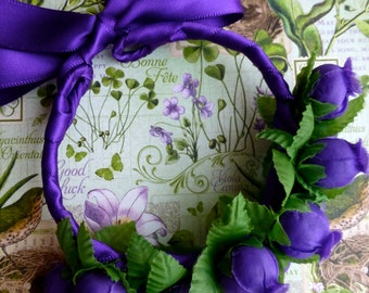 Purple rosebud bun wrap