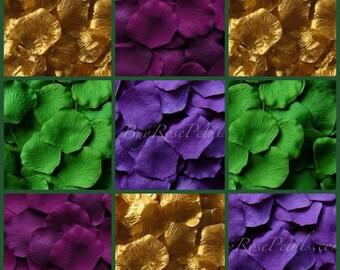 Mardi Gras Blend Rose Petals -1,000  Silk Rose Petals